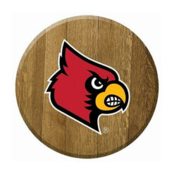 Bourbon Barrel Head with the UofL logo