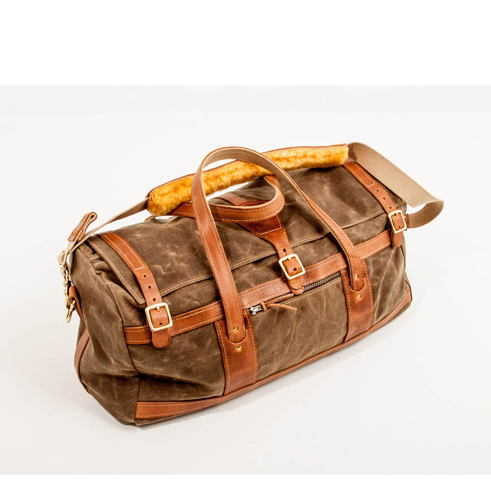 3aa98005d74e Sage Waxed Cotton Duck Canvas Duffel Bag with Natural Leather Trim ...