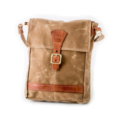 Satchel-Natural Waxed Cotton Duck Canvas with Chestnut Leather Trim