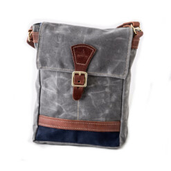 Satchel-Charcoal w/Navy and chestnut leather
