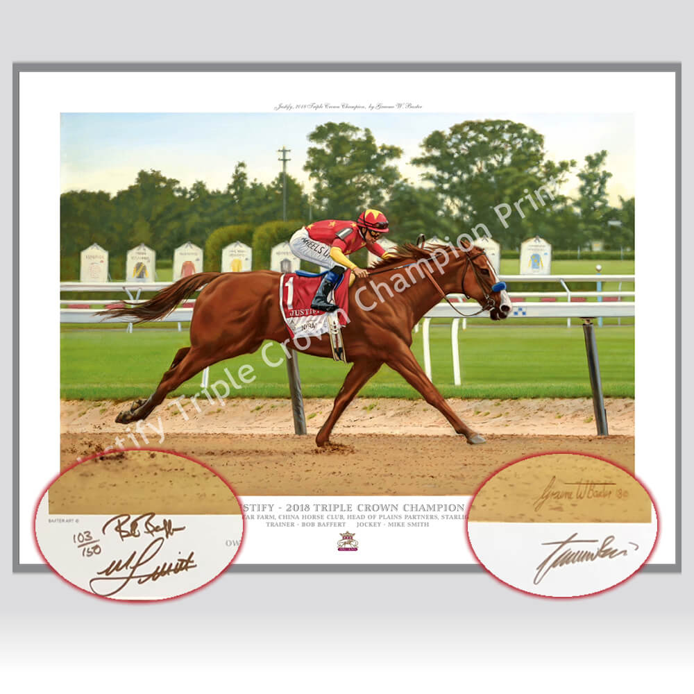 ced04742b66 Just In ! Justify Triple Signed Mike Smith - Bob Baffert Special Edition