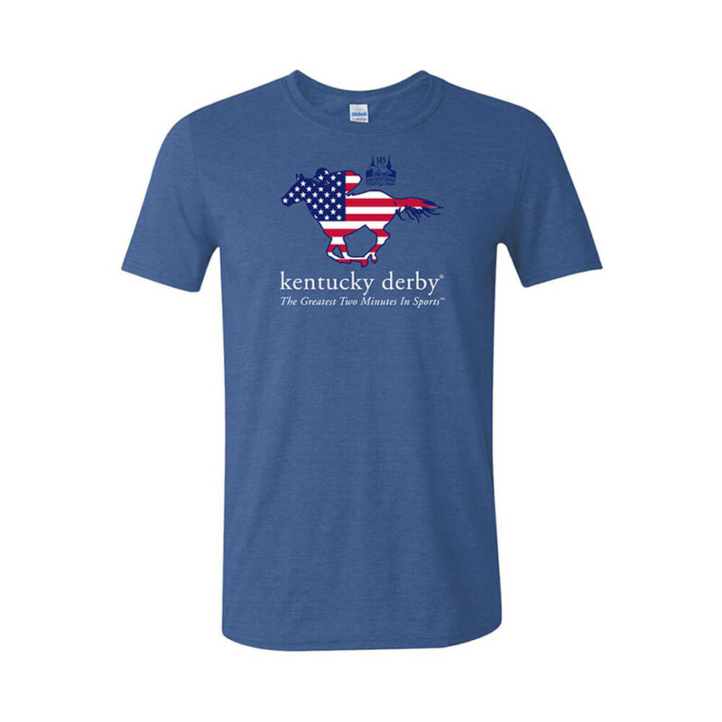 Kentucky Derby 145 Stars & Stripes Design T-Shirt, Heather Royal Blue