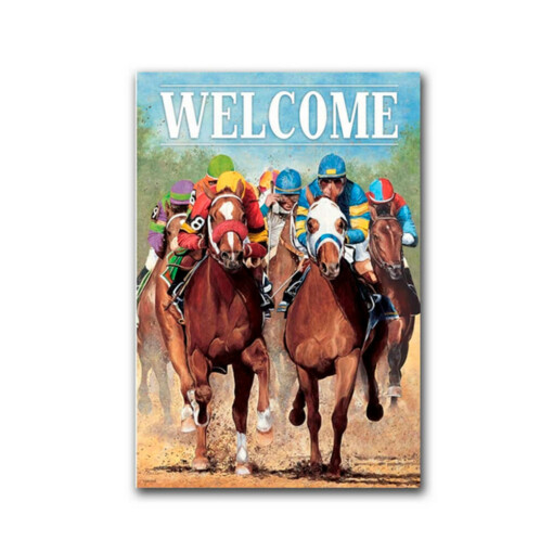 Welcome Horse Racing Flag - Small